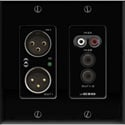 Attero Tech UND3IO-B-U 2x2 Channel 2 Gang US Wallplate with XLR RCA 3.5mm I/O PoE - Biamp Tesira Compatible - Black