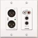 Attero Tech UND3IO-W-C 2x2 Channel 2 Gang US Wall Plate with XLR RCA 3.5mm I/O PoE SymNet Control Compatible - White
