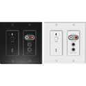 Attero Tech UND6IO-BT-U 4x2 Ch 2 Gang US Wall Plate with Bluetooth/RCA/3.5mm I/O - PoE - White & Black inserts