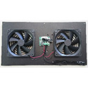 ATM 00-200-02 System 2 Venting Solutions with 2 Fans and Drive Electronics on a 1/8 Inch Black Mounting Plate