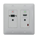Aurora DXW-2-B/W 2 Input HDBaseT Wall Plate (VGA & HDMI) - White