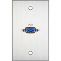 TecNec Board Room Series 1-Gang Clear Anodized Wall Plate with 1 High Density 15-Pin VGA Barrel Connector