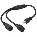 14in 16 AWG 1-to-2 Power Cord Splitter (1 NEMA 5-15P to 2 NEMA 5-15R)