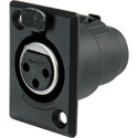Switchcraft D3FBXBAU 3-Pin Female XLR Panel/Chassis Mount Connector - Black/Gold