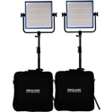 Dracast DR1000BCV2KQ LED1000 Pro Bicolor 2-Light Kit with V-Mount Battery Plates and Stands