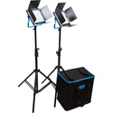 Dracast DRLK2X500BS BiColor 3200K - 5600K X2 LED500B Silver Series Kit with V-Mount Battery Plates - Soft Case