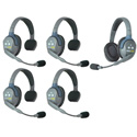 Eartec HUB541 UltraLITE & HUB 5 Person Intercom System with 4 Single/1 Double Headsets Powered by Li-Ion