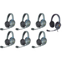 Eartec HUB7DMXD UltraLITE & HUB 7 Person Intercom System with 6 Double Headsets/1 Max 4G Double w/ Li-Ion Batteries