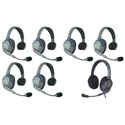Eartec HUB7SMXD UltraLITE & HUB 7 Person Intercom System with 6 Single Headsets/1 Max 4G Double w/ Li-Ion Batteries