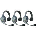 Eartec UL3S UltraLITE 3 Person Intercom System with 3 Single Headsets and Li-Ion Batteries