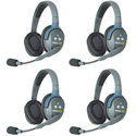 Eartec UL4D UltraLITE 4 Person Intercom System with 4 Double Headsets and Li-Ion Batteries