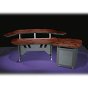 Mid-Atlantic 84 In. Desk w/Overbridge 2 Racks/1-Bay 12-Space Rack (Dark Cherry)