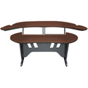 Mid-Atlantic 60 Inch Desk w/Overbridge w/2 4-Space Racks Dark Cherry