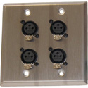 ETS PA202FRJWP InstaSnake Wall Plate with 4 Female XLR to RJ45 Inputs