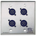 ETS PA202FWP InstaSnake Wall Plate- Send 4 FXLR to 110 Punch Down