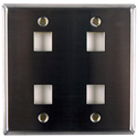 HellermannTyton FPDGQUAD-SS Stainless Steel 4 Port Flush Mount Faceplate