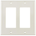 HellermannTyton Dual Gang Decora Rectangular Faceplate Office White
