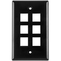 Six Port Flushmount Keystone Faceplate Black