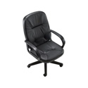 Black High Back Leather Media Chair 16-20 Inch Seat Height