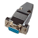 15-Pin HD Female D-Sub Connector with Metal Hood (DJ15HD and 9H)
