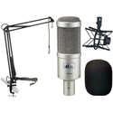 A Heil PR40 Mic Kit with PRSM-B Shock Mount & MXL BCD Stand featuring 12ft Attached Cable & Mic Boom - Wind Screen