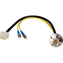 Camplex LEMO FXW to Dual ST & 6-Pin RG Chassis Fiber Breakout Cable 6 Inch