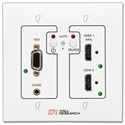 Hall Research UHBX-SW3-WP VGA HDMI MHL Auto-Switching Sender Wall-Plate with HDBaseT