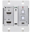 KanexPro WP-2X1HDUSBC Double Gang 4K HDMI 2.0 & USB-C Wallplate Switcher over HDBaseT -  with IR & PoH