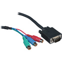 Kramer C-GM/3RVF-1 15-pin HD(M) to 3 RCA(F) Breakout Cable - 1 Ft.