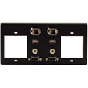 Kramer T4F-2S Inner Frames - 2 Single Power Sockets - 15-Pin HD / USB-A / RJ-45 / 3.5mm Inserts