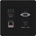 Kramer WP-20 Active Wall Plate - 4K UHD HDMI & VGA with Ethernet Bidirectional RS-232 & Stereo Audio over HDBaseT- Black