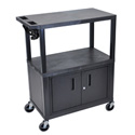 Luxor EA42CE-B 42 Inch Presentation Cart - Three Shelves - Cabinet