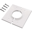 Double Gang White Split-Port Cable Pass Through Plate
