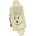 Single Gang Decor Recessed AC Receptacle Light Almond