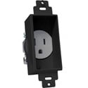 Single Gang Decor Recessed AC Receptacle Black