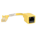 6 Inch CAT6 RJ45 Crossover PortSaver Patch Cord - Yellow