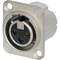 Neutrik NC3FD-LX-0 3-Pin Female XLR Panel/Chassis Mount Connector - Latchless - Nickel/Silver