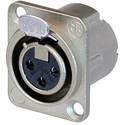 Neutrik NC3FD-LX 3-Pin Female XLR Panel/Chassis Mount Connector - Duplex Ground Contact - Nickel/Silver