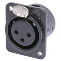 Neutrik NC3FDM3LBAG-1 Receptacle DL1 Series 3 Pin Female - Solder cups - Black/Silver with M3 Tapped Mounting Holes