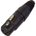 Neutrik NC3FX-B 3-Pin Female XLR Connector Cable End - Black & Gold