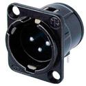 Neutrik NC3MD-H-BAG Horizontal Male 3-Pin XLR - Silver/Black