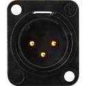Neutrik NC3MD-L-B-1 3-Pin XLRM Neutrik Black/Gold Chassis Mount with Solder Cups