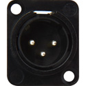 Neutrik NC3MD-L-BAG-1 3-Pin XLR Male Panel/Chassis Mount Connector - Solder Cups - Black/Silver