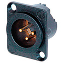 Neutrik NC3MD-LX-B 3-Pin XLR Male Panel/Chassis Mount Connector - Duplex Ground Contact - Black/Gold