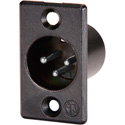 Neutrik NC3MP-B Male 3-Pin XLR Chassis Mt. Black Shell/Silver Contacts