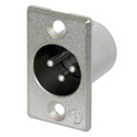 Neutrik NC3MP 3-Pin XLR Male Panel/Chassis Mount Connector - Nickel/Silver