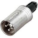 Neutrik NC3MXX-WOB 3 Pole Male Cable Connector - No Boot - with Strain Relief - Nickel/Silver
