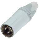 Neutrik NC3MXX-WT 3 Pole Male Cable Connector - White/Silver