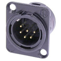 Neutrik NC6MD-L-BAG-1 Chassis Mount DL1 Series 6 pin Male - Solder Cups- Black/Silver