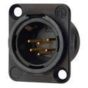 Neutrik NC6MSD-L-B-1 Receptacle DL1 Series 6S Pin Male - Solder Cups - Black/Gold
